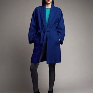 NARCISO RODRIGUEZ WOOL COCOON COAT WITH TIE BELT